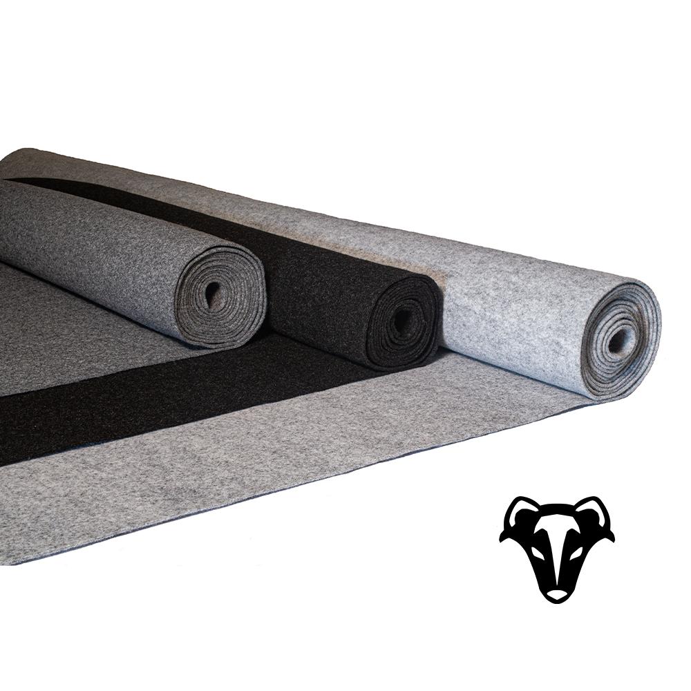 Carpet-Filz in 3 verschiedenen Farben Dunkelgrau, Anthrazit und Hellgrau