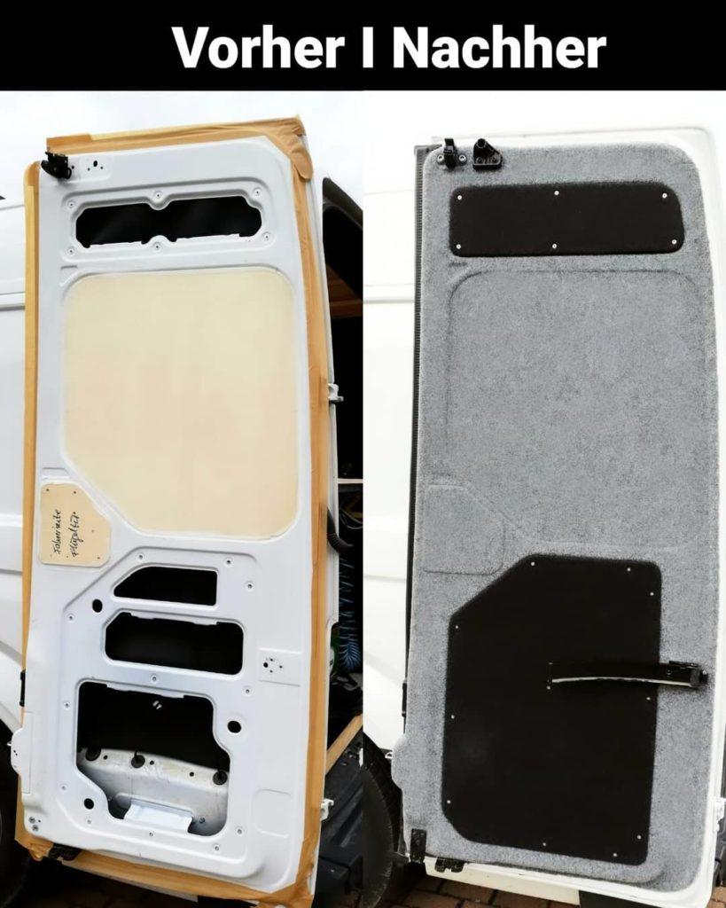 Vorher Nachher Bild der Hecktüren eines VW Crafter l2h2 DIY Camper Ausbaus