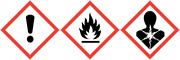 Gefahrenhinweise Dickes Ausrufezeichensymbol Flammen Gesundheitsgefahr