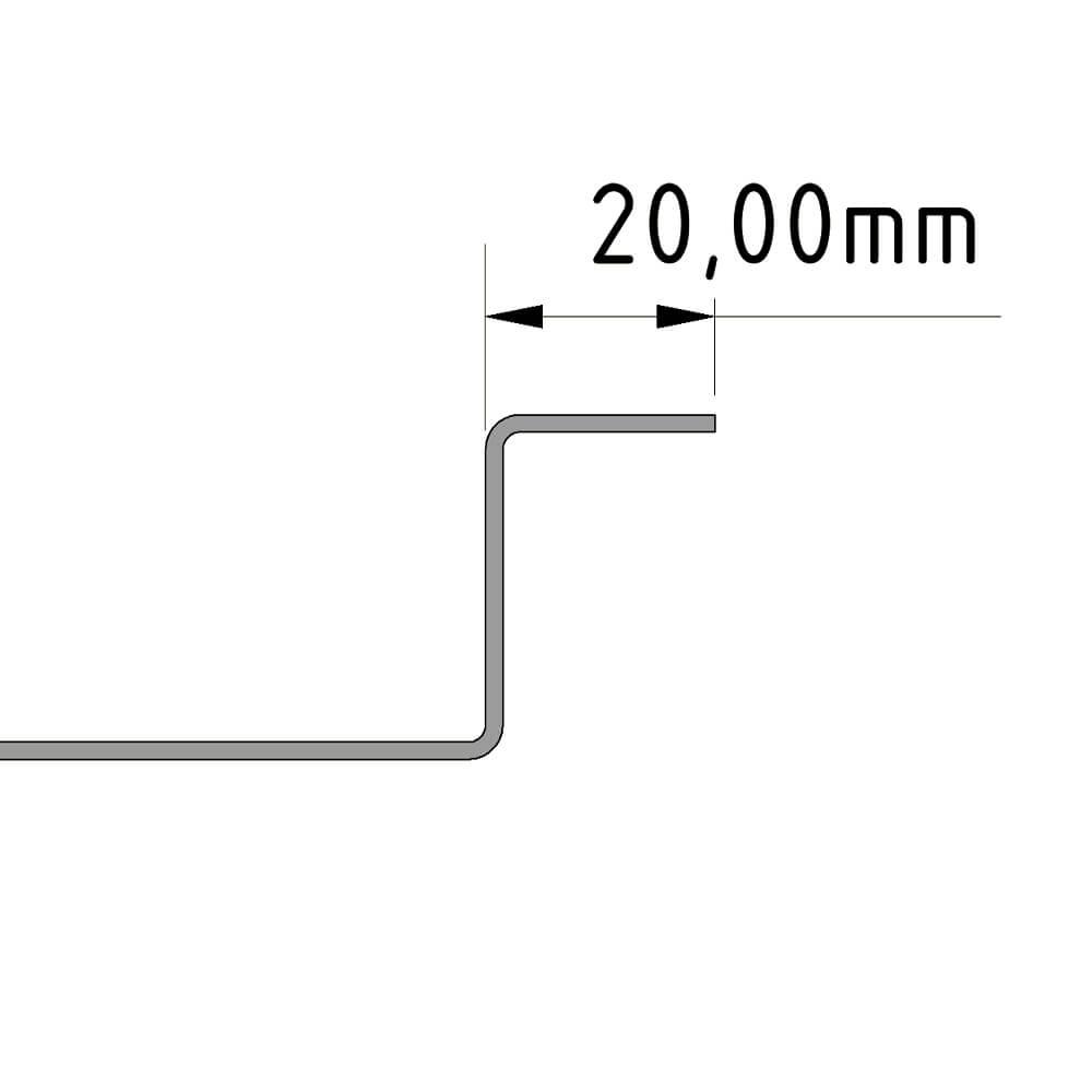 Camper Duschwanne Standart Rand 20mm einfach gekantet