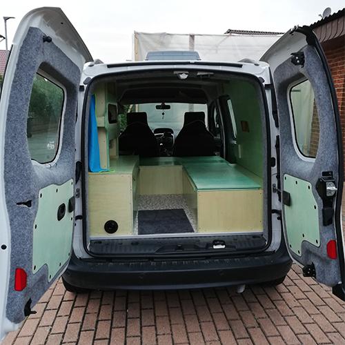 Adventure Truck Nachschlagewerk Renault Kangoo Hecktüren Carpet Filz Bus 4 fun Steingrau Carpet Filz im Kundenauftrag verarbeitet