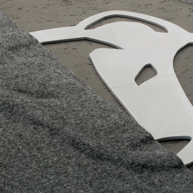 3D-Druck Filzmotiv Adventure Truck Wolf und dunkelgraues Carpet-Filz